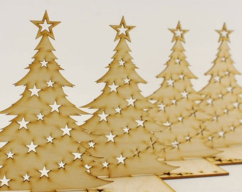 Traditional Christmas Tree, ready to hang, Christmas Tree Ornaments, Xmas Tree Decoration, Hangers, Decor, Wooden Gift, Lasercut