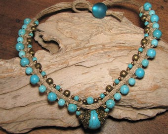 Howlite stones turquoise and bronze beads on linen macrame necklace