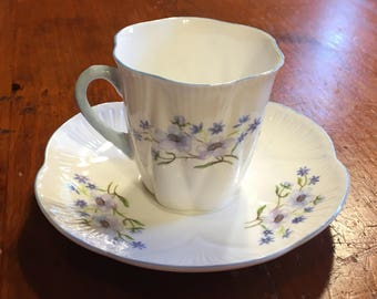 Shelley Blue Rock 13591 Demitasse and Saucer England Fine Bone China