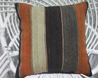 Orange and Black Striped Vintage Kilim Pillow Cushion Cover Handwoven Kilim Rug Decorative Pillow Cover Handmade Turkish Pillows 3819