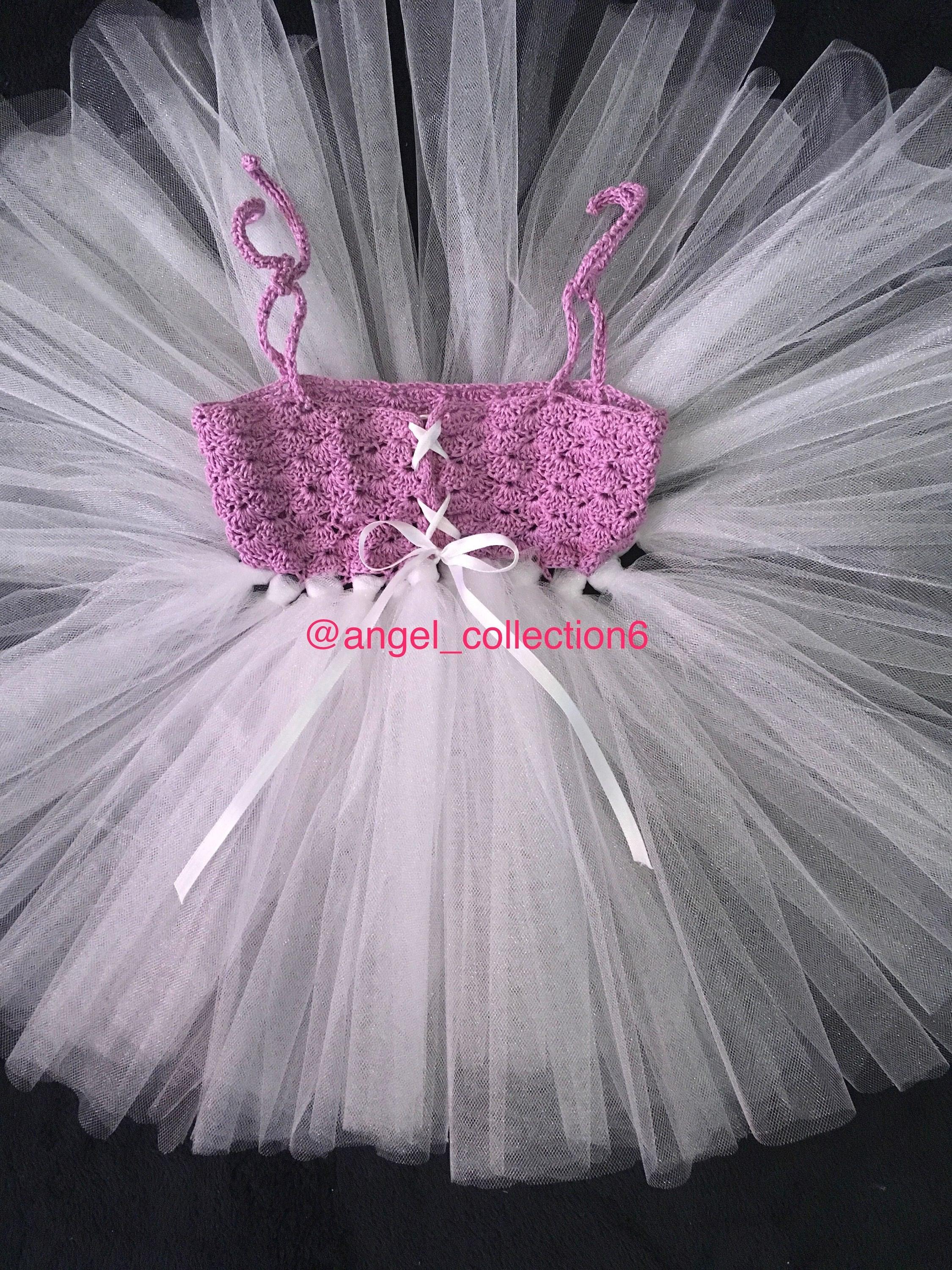 Baby toddler crochet tutu dress with headband purple handmade cute