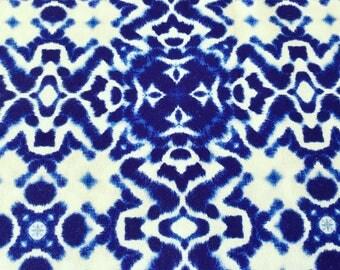0, 5m cotton Haru shibori tie-dyed indigo blue white