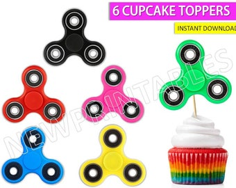 Fidget Spinners cupcake toppers spinner fidgety hand  fidget spinner party Fidget Spinner cake Instant Download  20% OFF SALE