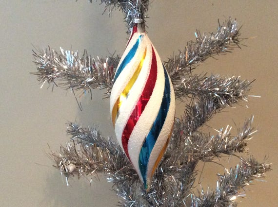 "Vintage Mercury 9"" West Germany Spiral Teardrop Snow Cap Ornament"