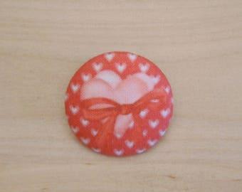 x 22mm fabric heart ref A38 1 button