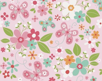 SALE! Garden Girl - Per Yd - Riley Blake - by Zoe Pearn - Floral on PINK