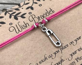 Nappy Pin Wish Bracelet, Make a Wish Bracelet, Friendship Bracelet, Mum to Be, Baby Shower, Baby Gift, Pregnancy Gift, Maternity