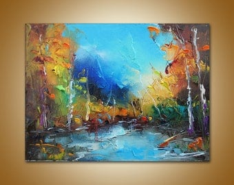 Landscape Painting, Canvas Painting, Modern Art, Palette Knife, Rustic Wall Decor, Kitchen Decor, Canvas Art, Wall Decor Oil Painting