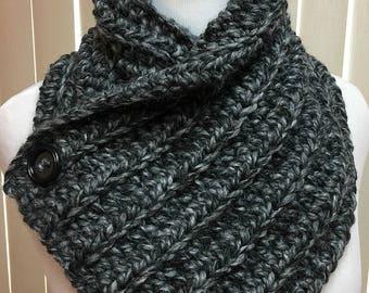 Crochet Neckwarmer Scarf, Black Neck Warmer, Button Scarf, Black Button Scarf, Black Neckwarmer, Chunky Neckwarmer, Winter Accessories