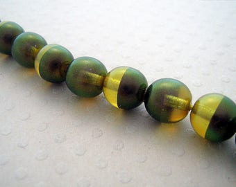 Set of 10 beads two-tone Gold Rainbow 8 mm - PB8 0579