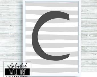 Alphabet C black and white printable wall art, home decor, wall decor