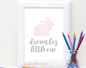 Baby girl art, Pink nursery decor, Dream Big Little One, Baby Girl Room Prints, baby girl nursery wall art, Nursery Print #0028P