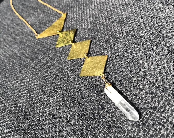 Cleopatra Heiroglyphic Hammered Brass Geometric Statement Necklace