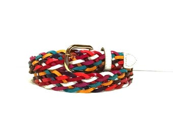 Vintage colorful braided leather belt