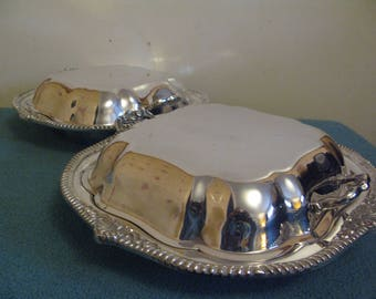 Vintage Victorian Silver Plate Matched Pair Entree Dishes C1880 English