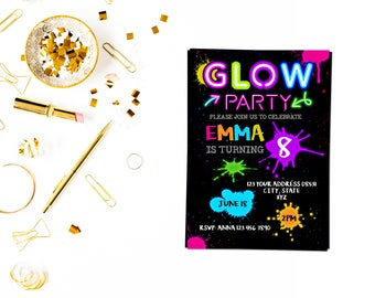 Glow party invitationGlow Party Invitation, Glow Invitation, Neon Birthday Invitation, Dance Invitation, glow sleepover