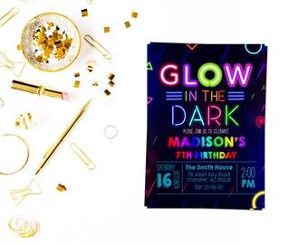 Neon glow invitation, Glow Birthday Invitation, Glow Party Invitation, Glow Invitation, Neon Birthday Invitation, Dance Invitation, Neon