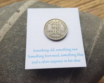 Brides Gift Lucky Sixpence, Silver Sixpence, George Gift, Something Old, Brides Gift, Wedding Gift, King George
