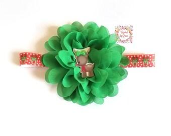 Christmas Headband/Holiday Headband/Reindeer Headband/Green Flower Headband/Red and Green Headband/Rudolph Headband/Christmas Bow Headband