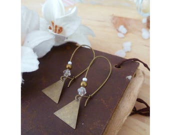 TRIANE ▷ earrings, bronze triangle pendant and pearls!