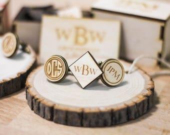 Set of 6 Personalized cufflinks groomsmen gift, wedding party gift, groomsman gift. Cufflinks for groomsmen personalized wedding party gift