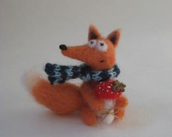 Fox Miniature. Needle Felted Fox With a Mushroom. Art Miniature Toy.