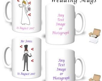 PAIR BRIDE & GROOM Personalised Wedding Mugs Full Colour Printed Text Image Photograph