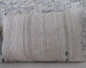 Anatolian Turkish Kilim Pillow Needle Point Kilim Lumbar 16x24 Decorative Pillow Kilim Cushion Bohemian Pillow Kilim Rug 16x24 Euro Pillow