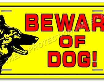 "Beware of Dog Attack Dog German Shepherd Warning Sign Do Not Trespass Sign 6""x12"""