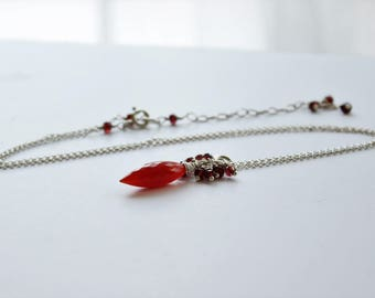 Carnelian, garnet and silver necklace, Carnelian pendant, Carnelian and sterling silver necklace, Gift for her