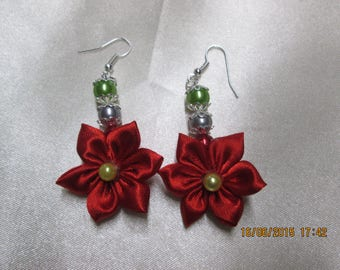 Red satin and Pearl flower earring