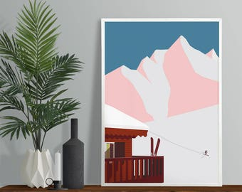 Ski Chalet In The Mountains Art Print - A4 A3 Size - Winter Skiing Wall Art - Modern Minimal Scandi Style Print - Winter Sunset Poster