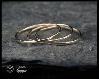 Set of 3 - Super skinny rings. 14k Gold filled (Rose or yellow), Sterling Silver, thin ring, 0.8mm ring. Thin ring, stacking ring.