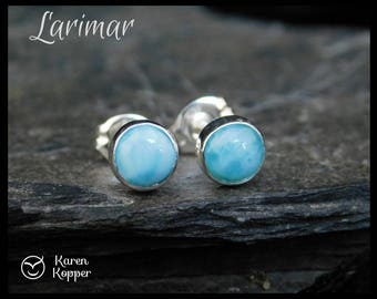 Larimar and sterling silver stud earrings, 5mm cabochon, posts earrings, studs, blue. 133