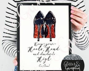 Give a girl the right shoes and she can conquer the world' glitter sole Louboutin fashion print marilyn monroe quote