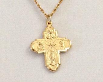 "Vintage Cross necklace, Italian Five Way cross, religious cross, gold Karatclad cross, gold cross, 1 3/16"" long x 7/8"" wide cross"