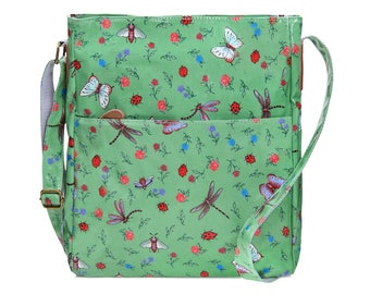 University Crossbody laptop bag- Oilcloth Zip computer bag -  Messenger bag - School College bag - Oil cloth ladies purse - Dragonfly butter