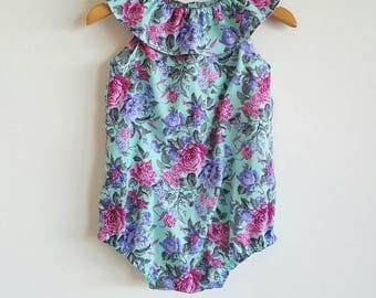 Baby girls playsuit // ruffle neck // romper // turquoise // pink // floral // spring // baby gift // baby shower
