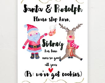 Santa stop here personalised print.