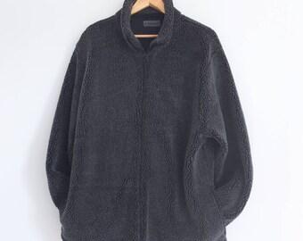 Vintage 90's Hawkshead Oversized Black Teddy Zip Up Sherpa Fleece Jacket Coat Size L