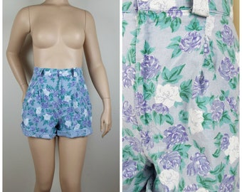 Vintage Womens 1980s Purple, Green and White Floral High Waisted Shorts | Size M