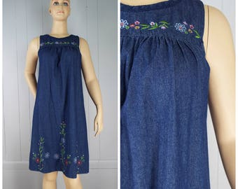 Vintage Womens Denim Embroidered Sleeveless Tent Dress | Size M