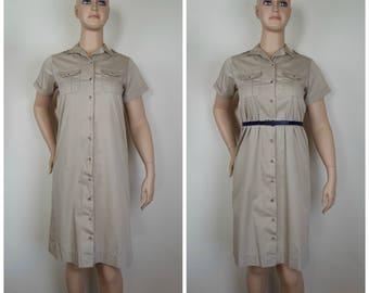 Vintage Womens LL Bean Beige / Tan Button Front Shirt Short Sleeve Cotton Dress | Size M