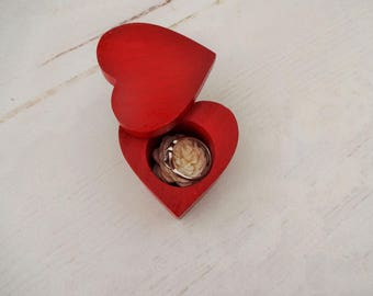 Red Ring Box, Red Proposal Box, Red Engagement Box, Red Heart Box, Wood Ring Box, Tiny Proposal Box, Small Engagement Box, Wedding Ring Box