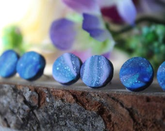 Marbled Studs / Nickel Free Earrings / Hypoallergenic Earrings / Blue Earrings