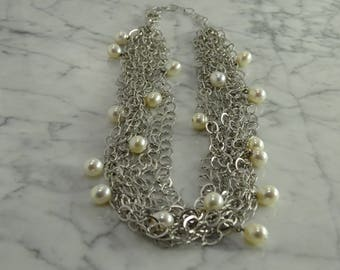 "Sterling Silver / Pearl Multi Strand Necklace (Adj 16"" to 19"")"