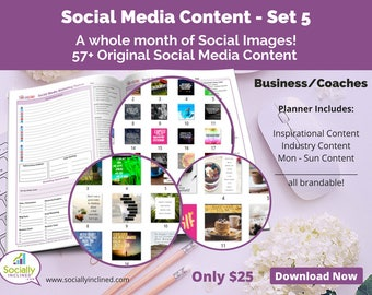 Social Media Images - Content General Business & Coaches (SET 5) -- 57+ original images, blank planner pages, checklists, tasks, and goals