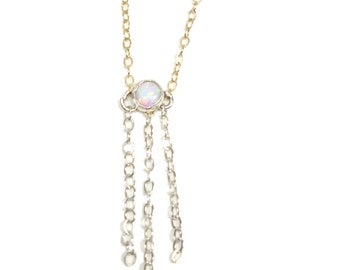 Delicate Opal Sterling Silver and Gold Chain Necklace. FREE US Standard Shipping.