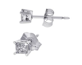 0.16 Carat Princess Cut Diamond Stud Earrings 14K White Gold