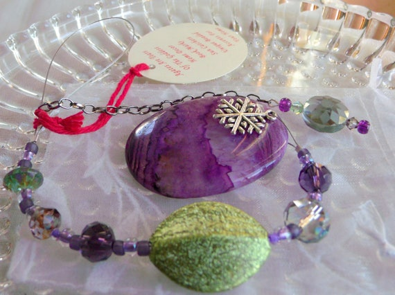 Christmas gemstone ornament - purple tree agate pendant - silver holiday charms - snowflake decor ideas - dragon vein agate - Lizporiginals